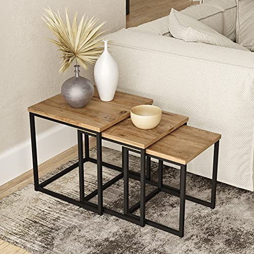 Yurupa Beistelltisch,Kaffeetisch,Sofatisch,Tisch Set,3 er Set Couchtisch/tische,3 teilig Satztisch,Industrie Design,Vintage Look VG7-A