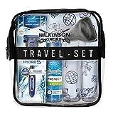 Wilkinson Sword Set de Viaje con Máquina de Afeitar Recargable de 5 Hojas + Protector de Viaje + Espuma de Afeitado Protect 50 Ml + 2X Botes Rellenables 100 Ml + Neceser de Viaje