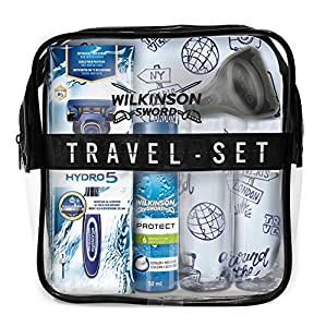 Wilkinson Sword Travel Set - con Máquina de Afeitar Recargable de 5 Hojas + Protector de Cabezal de Viaje + Espuma de Afeitado Protect 50 Ml + 2 Botes Rellenables 100 Ml + Neceser de Viaje