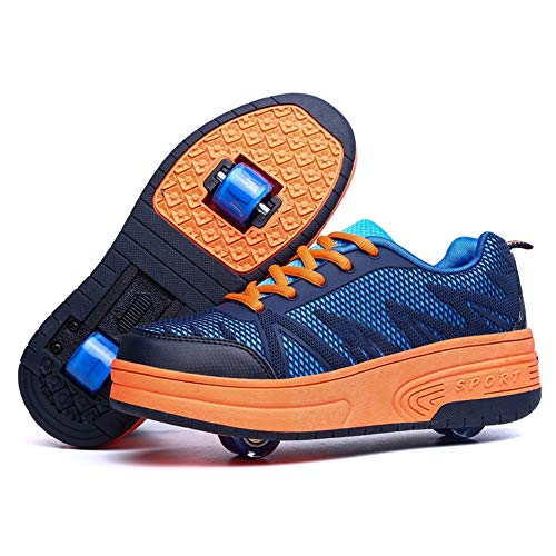 Recollect Niños Niñas Zapatillas con Ruedas Automática de Skate Soltero/Doble Ruedas Zapatos Patines Deportes Zapatos para Unisex,Navy2,36EU