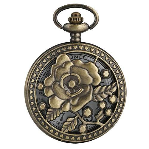 HYLK Reloj de Bolsillo Bronce Antiguo Flores Color de Rosa Calado Cubierta de Flores de Cinco Puntas Reloj de Bolsillo de ratán Floral Collar Hueco Colgante Colección de Arte (Color: Flor Rosa)
