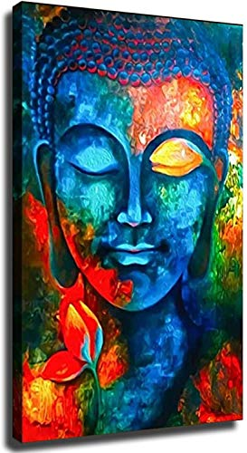 Home Decor Print Oil Painting on Canvas Wall Art, Artwork Painting Buddha (12x18inch,Framed)