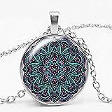 CAISHENY Charm and Fame Kaleidoscope Series Budista Yoga Mandala Time Glass Gemstone Collar Gargantilla Collar Colgante Redondo