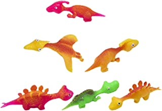 Toyvian 6pcs Rubber Dinosaur Slingshots Funny Gag Toys Rubber Flick Flying Flingers Stress Stuffers Easter Chicks Novelty ...
