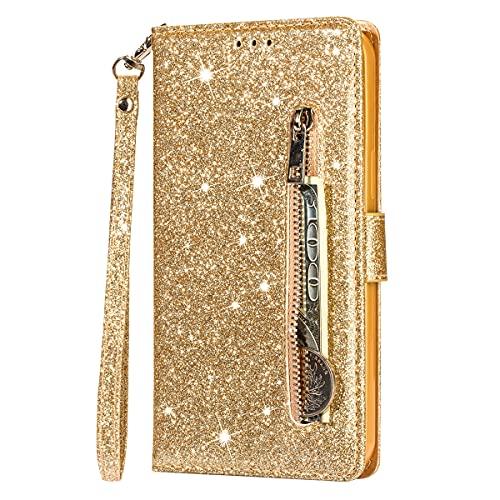 Blllue Capa carteira compatível com Samsung S20 FE, capa de telefone de couro PU com glitter com cordão para Samsung S20 FE 5G - ouro