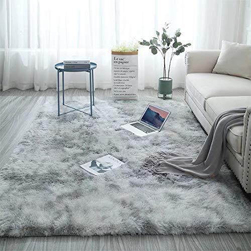 YJ Alfombra Suave Degradada Esponjosa Tie-Dye Artificial Hogar Sala de Estar Dormitorio Comedor Alfombra Decorativa Lavable con Diseño de Fondo Antideslizante (120*160CM)