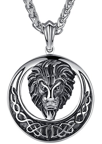 Aoiy Men's Stainless Steel Large Lion Celtic Knot Biker Pendant Necklace, 24' Chain, aap055