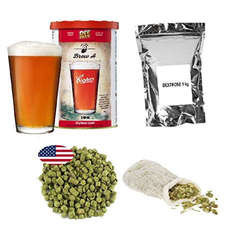 Brew Kit – Coopers IPA + Dextrosa 1kg + pellets de lúpulo - Cascada 25g + bolsa de muselina