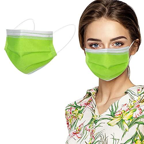 50 Stück Grün/Orange/Rot/Gelb Einmal-Mundschutz, Staubs-chutz Atmungsaktive Mundbedeckung, Erwachsene, Bandana Face-Mouth Cover Sommerschal (Grün)