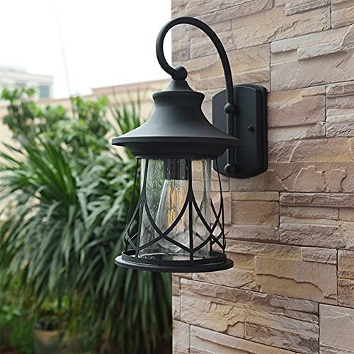 YBright American antiguo patio pared linterna al aire libre iluminación iluminación iluminación impermeable negro acabado exterior industria industrial lámpara de pared e27 zócalo para la casa porche