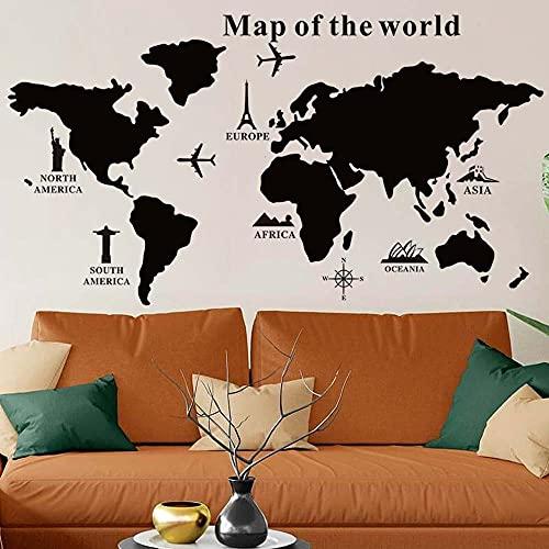 BAKAJI Lavagna Nera Puzzle Mappamondo Globo in PVC Adesivo da Parete con Set Gessetti Segna Paese Viaggio Cartina Geografica Decorazione Casa da Muro Dimensione 102 x 50 cm Design Moderno