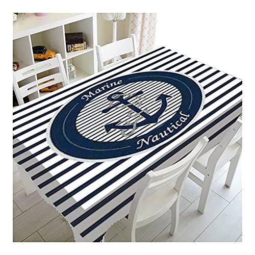 YUQINT Nautical Navy Blue Ancoraggio Ruota Corda Faro Festa di Compleanno Tavolo Decor Sea Marine Tovaglia Piazza Tovaglia Tavolo (Colore: F, Specificazione: 90 * 90cm)