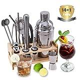 Fnboc Cocktail Set 15 Teilig, Cocktail Shaker, Cocktail Zubehör, 550 ML Cocktailshaker, Barmaß, Sieb, Eiszange, Kellnermesser, Strohhalme, Barlöffel, Ausgießer, Taschenbuch, Bar Set