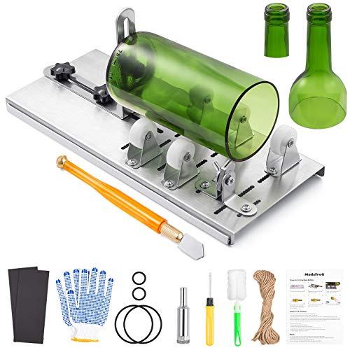 Cortador de botellas de acero inoxidable MadxfroG, 5 ruedas ajustables, cortador de cristal, herramienta DIY para cortar botellas redondas y cuello de botella