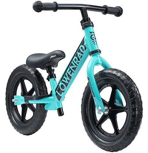 LÖWENRAD Kinderlaufrad ab 3, 4 Jahre, 12 Zoll Jungen und Mädchen Laufrad, leichtes Kinderrad Lauflernrad höhenverstellbar, Türkis | Risikofrei Testen