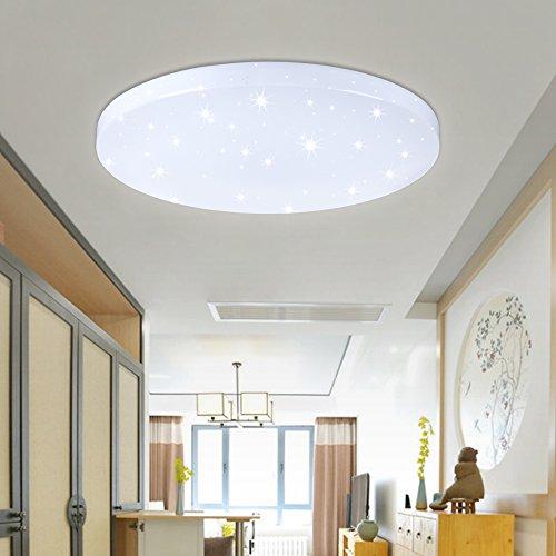 VINGO® 50W LED Deckenleuchte Starlight Weiß 2700K-3000K Rund Φ450*95mm Korridor Wandlampe Badleuchte Wohnzimmer