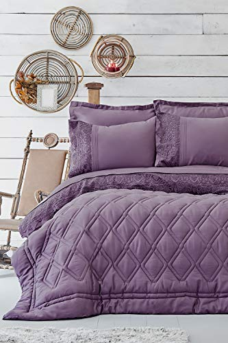 Karaca Home Carissa Damson Satin Double 7 Piece Sleeping Set-