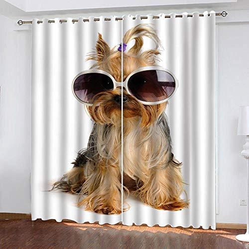 AGKMLP 3D Cortinas Perro De Gafas Casa En La Playa,Impresión 3D Cortinas Opaca Cocina Salon Dormitorio Moderno Cortinas Decorativa