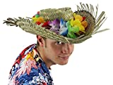 HAWAIIAN HAT FANCY DRESS ACCESSORY HULA LEI ON NATURAL STRAW BEACHCOMBER HAT FLOWER SUMMER BEACH PARTY LUAU (MULTI-COLOURED)