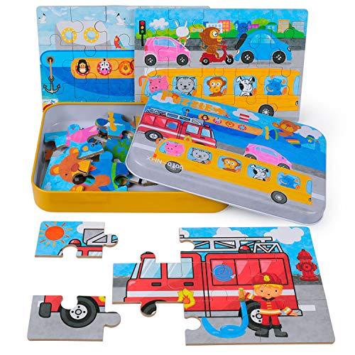 Puzzle 4 in 1 per bambini Puzzle da 56 pezzi Il miglior regalo per 3 4 5 anni Ragazzi e bambine-Camion dei Pompieri Aereo Steamship Auto Preschool Puzzle per bambino con scatola di puzzle in metallo