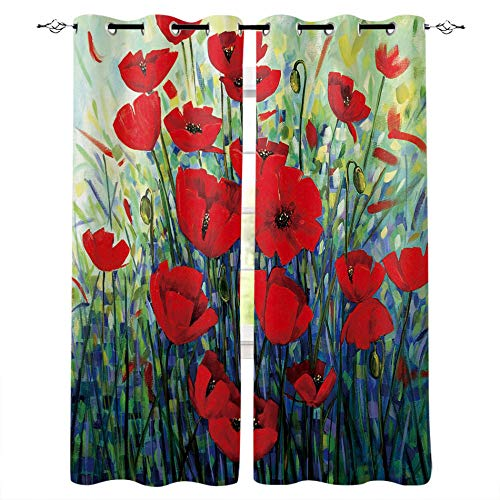 MXYHDZ Blackout Curtains for Bedroom - Red Plant Rose - 3D Print Pattern Eyelet Thermal Insulated - 55 x 63 Inch Drop - 90% Blackout Curtains for Kids Boys Girls Playroom