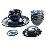 vancasso Serie Starry Vajilla Gres Juego de Vajillas 22 pcs Vajillas Completas Irregulares Vintage Azul para 8 Personas