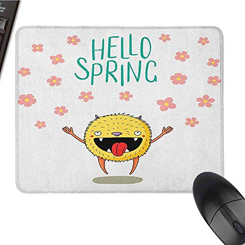 Quote Gaming Mouse pad Hello Spring Little Funny Monster Jumping Happily Among The Falling Cherry Blossoms Game Mouse pad Design W15.7 x L23.6 x H0.8 Inch Multicolor