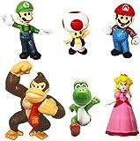 6 Pcs Super Mario Bros Super Mary Princess-Turtle-Mushroom-Orangutan-Super Mary Action Figures, 1.2 ' - 2' Tall