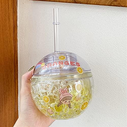 400 ml Botella de Agua de Hielo Redonda con batería de Paja para niñas niñas de plástico Jugo Reutilizable de Fresa Peach Cup Cup Chenhuanbakeyji (Capacity : 400ml, Color : Yellow)