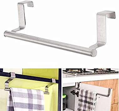 HOME CUBE Stainless Steel Towel Holder Cabinet Hanger Over Door Kitchen Hook Drawer Storage (Small)