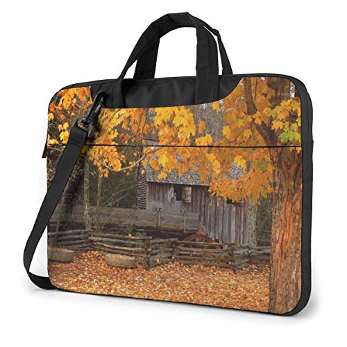 Laptop Bag Satchel Tablet,Autumn Cabin Laptop Sleeve Case,Laptop Carrying Case For Business Casual or School With Shoulder Straps & Handle