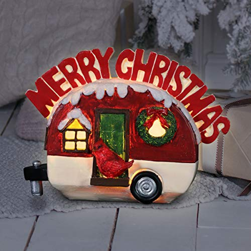 Exhart Merry Christmas Trailer Statue w/LED Light – Light-Up, Vintage Christmas Decor- Indoor/Outdoor Durable, Weather-Resistant, Resin Christmas Décor w/Automatic Timer,  8.5' x 4.5' x 6.5.