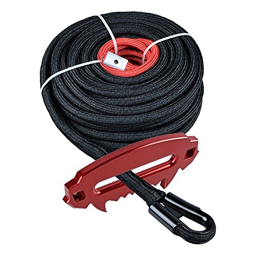 Buy Bargain 3/8 inch x 85 feet Dark Black Synthetic Winch Rope Line Cable with All Rock Heat Guard and Red Aluminum Fury Beast Series Devil Design Hawse Fairlead