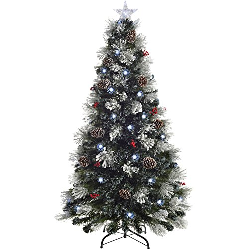 WeRChristmas Pre-Lit Fibre Optic Multi-Function Christmas Tree with Tree Topper, Frosted, 6 feet/1.8 m