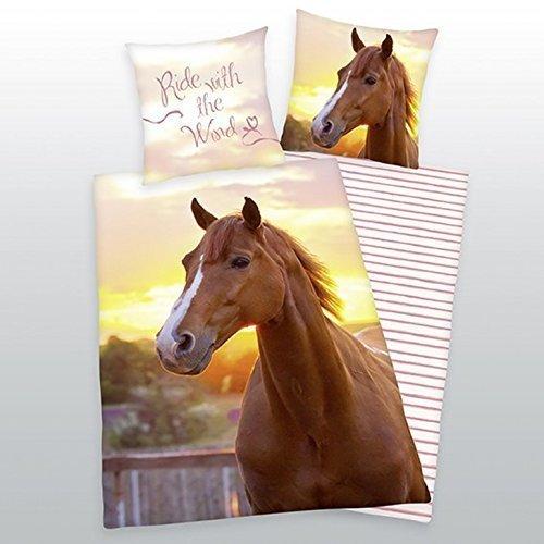 Herding Ropa de cama con caballo 135 x 200 cm 80 x 80 cm 100% Algodón