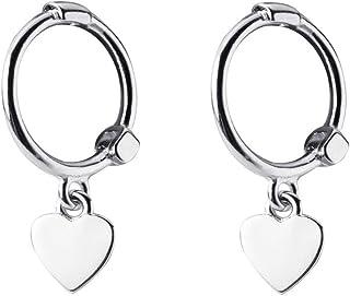 Tiny Love Heart Dangle Small Hoop Earrings for Women Teen Girls S925 Sterling Silver Cartilage Cute Sleeper Dainty Huggie ...