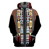 Hoodie Felpa Sweatshirt Hoodie Cappuccio Uomo Felpa Blusa con Cappuccio a Maniche Lunghe Stampa Stile Etnico 3D Vintage (XS,9- Nero)
