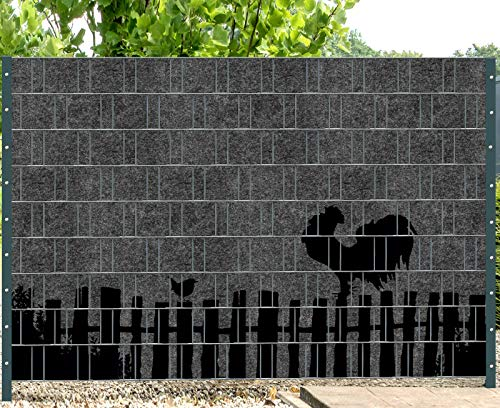 PerfectHD Zaunsichtschutz | Uni Florenz | 24 Motive | Sichtschutzstreifen für Doppelstabmattenzaun | Windschutz Sonnenschutz Blickdicht | 2,50m x 1,80m | 19cm | 9 Streifen | Country 2
