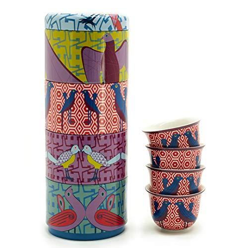 Images D'Orient Set de Regalo 2 en 1 Cajas de Metal con Tazas de Porcelana 4x60 ml para Espresso Tazas de Espresso Tazas de Espresso Tazas de Moca Tazas de café pájaro del paraíso diseño Vintage.