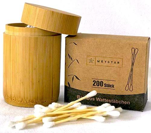 MEYSTAR Bambus Wattestäbchen + Aufbewahrungsbüchse aus Bambus + Nachfüllpaket Insgesamt 300 Q-Tips, biologisch abbaubar, vegan & plastikfrei I Für einen umweltfreundlichen Lebensstil