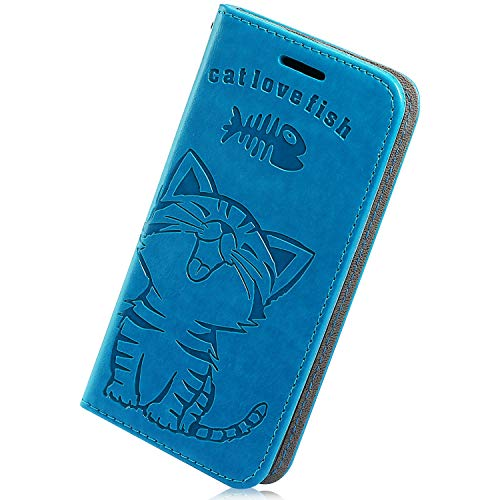 Learn More About Herbests Compatible with Samsung Galaxy A50 Wallet Case Cute Retro Cat Fish Embossed Pattern Stand Flip Leather Case Full Body Protective Phone Case with Kickstand Credit Card,Blue