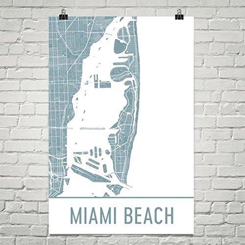 """Miami Beach Poster, Miami Beach Art Print, Miami Beach Wall Art, Miami Beach Map, Miami Beach City Map, Miami Beach Florida City Map Art,Miami Beach Gift,Miami Beach Decor, (12"""" x 18"""", White and Gray)"""