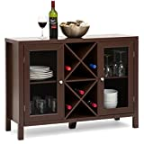 Best Choice Products Wooden Rustic Table Cabinet w/Wine Rack Sideboard, Black