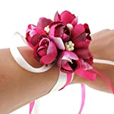 Wrist Flower, Wrist Corsage Hand Flowers Decor for Wedding Bridal Prom Party Accessories PS05 (Fuchsia Wrist Flower)