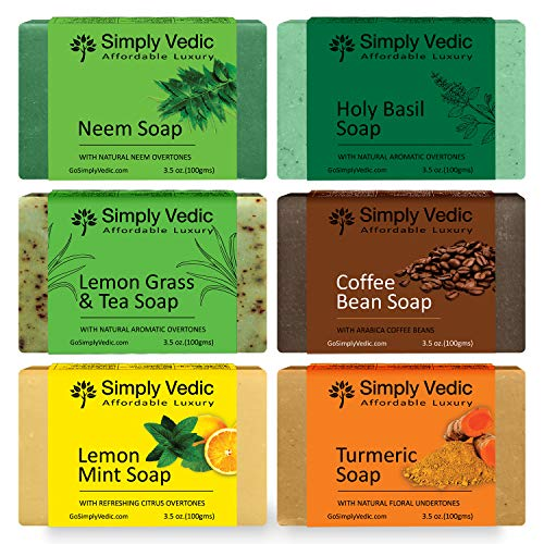 Simply Vedic 6-Pack Soap Bar For Body, Hand, Face. , 100% Vegan Cold Pressed With Coconut Oil, Hand-Made, Gift Set For Men & Women (3.5 Oz. X 6 ) (Neem) (Combo 2)