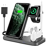 Powlaken Wireless Charger, 4 in 1 Wireless Charging Station Dock for Apple iWatch Series Se 6 5 4 3 2 1, AirPods Pro and Pencil, Charging Stand for iPhone 11, 11 Pro max, Xr, Xs max, X (Grey)