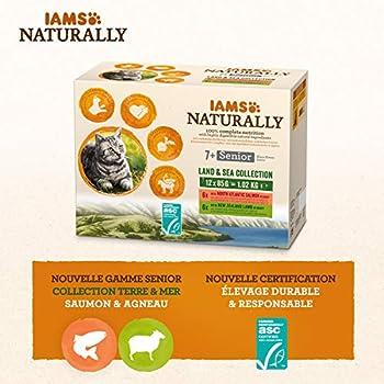 IAMS Naturally Nourriture Humide pour Chat Senior 12 sachets fraicheurs pour 2 Pâtées Terre/Mer en sauce - SANS SUCRE AJOUTE, OGM, protéines végétales, colorant, arôme artificiel - 12 x 85g