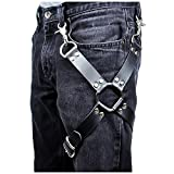 keland Arnés de cuero negro punk sexy jaula Cinturón de ligadura de muslo para mujeres o hombres (Negro-A)