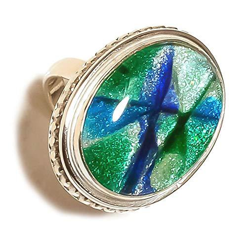 Jewels House - Anillo de Plata con Piedra Ovalada de larimar caribeña, Hecho a Mano, con Piedra Azul US -7.75