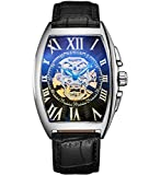 SEWOR Mens Automatic Business Dress Tonneau Shaped Skull Skeleton Wrist Watch Mechanical Self Wind (Black-1)